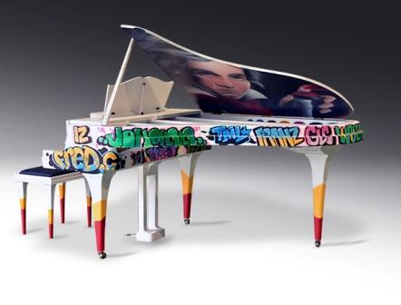 Rippen Aluminium Grand Piano Graffiti